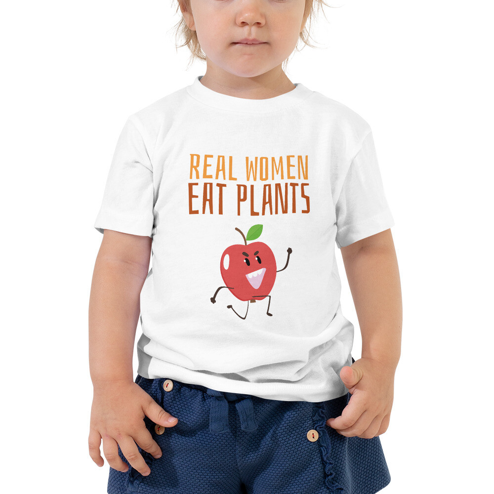 Real Women Eat Plants Toddler Short Sleeve Tee Apple