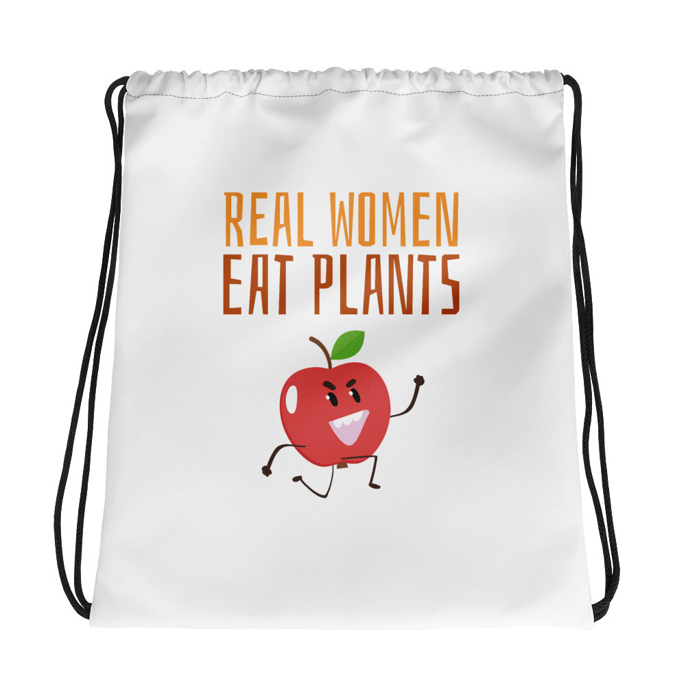 Real Women Eat Plants Drawstring bag Apple