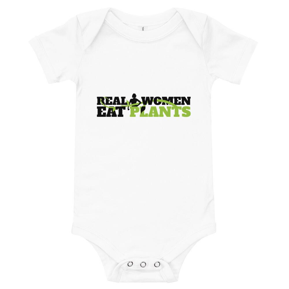 Real Women Eat Plants Baby Bodysuits Logo
