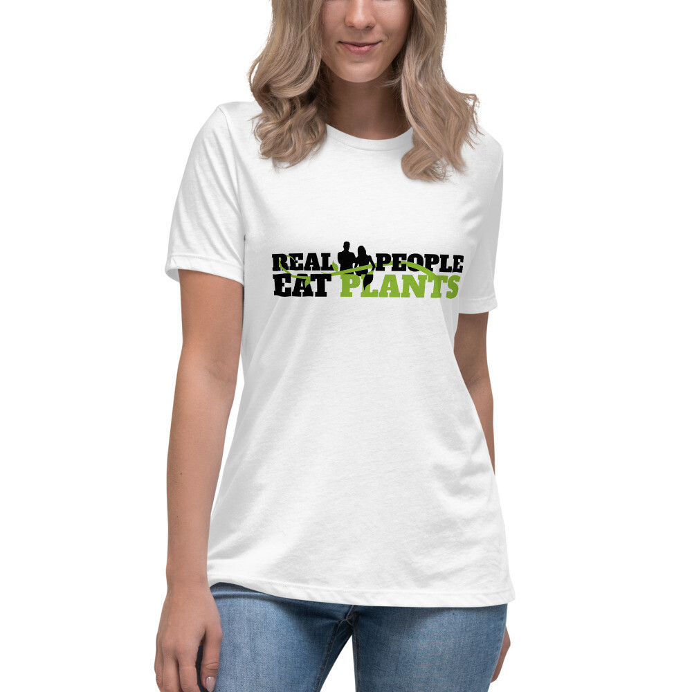 Real People Eat Plants  Women's Relaxed T-Shirt Logo