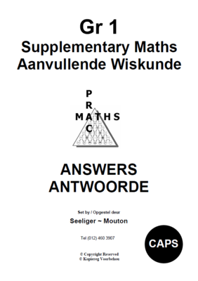 Gr 1 Supplementary Answers/ Antwoorde