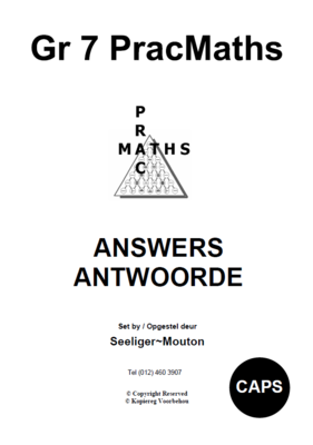 Gr 7 Prac Maths Answers/ Antwoorde
