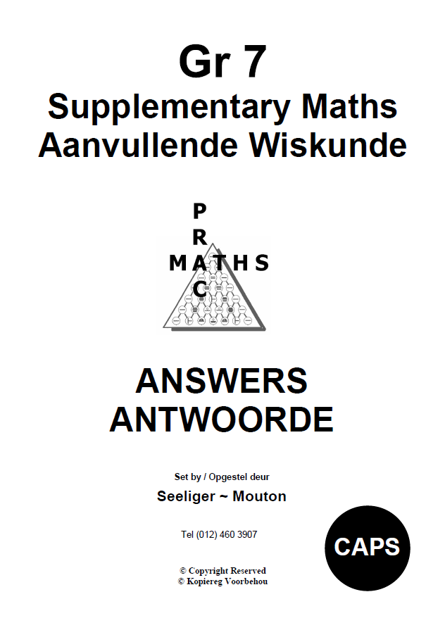 Gr 7 Supplementary Answers/ Antwoorde