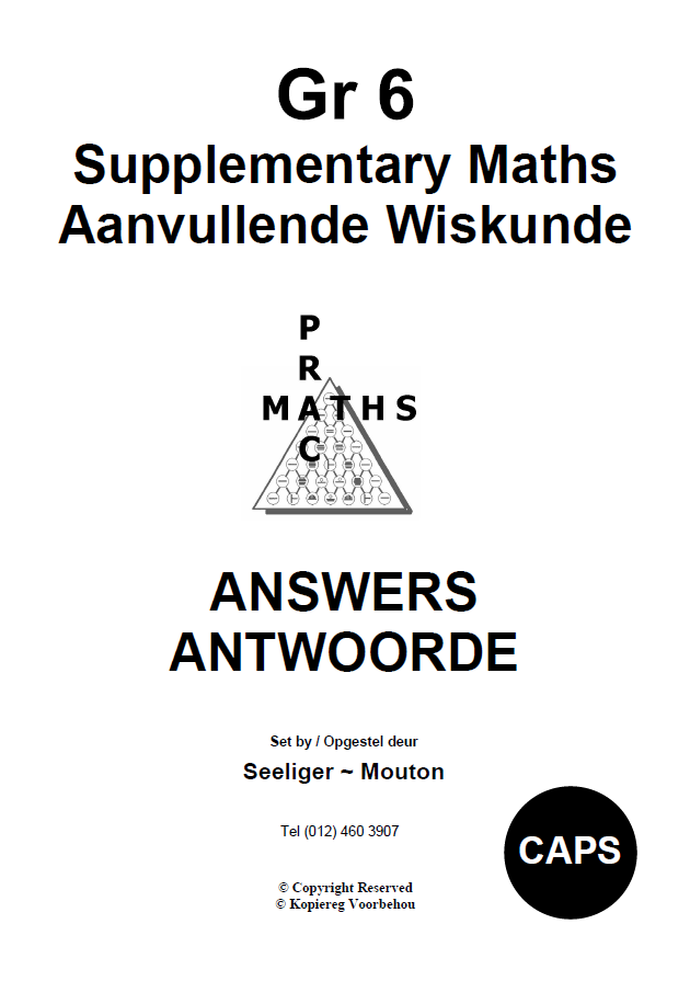 Gr 6 Supplementary Answers/ Antwoorde