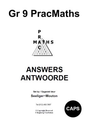 Gr 9 Prac Maths Answers/ Antwoorde