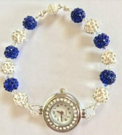 Blue and White Shamballa Watch