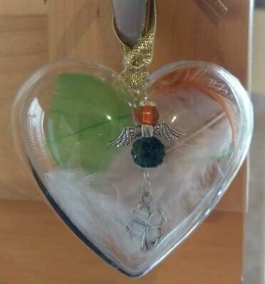 Irish Colours Crystal Angel In A Heart Bauble