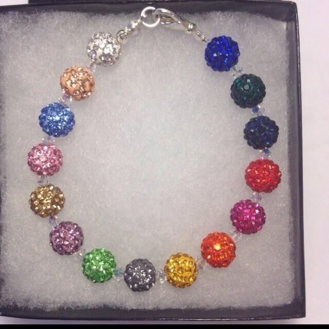 Handmade Coloured Shamballa and Swarovski Bracelet