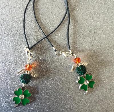 Irish Shamrock Crystal Angel Pendant