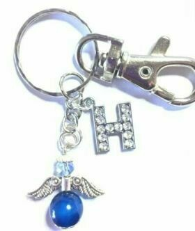 Handmade Angel With an Initial on a Keyring