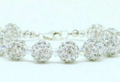 Silver Shamballa Crystal Bracelet