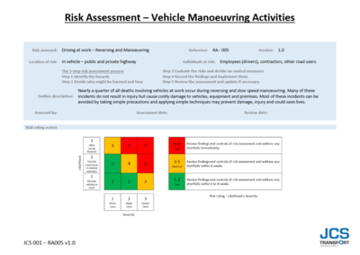 RISK ASSESSMENT – VEHICLE MANOEUVRING