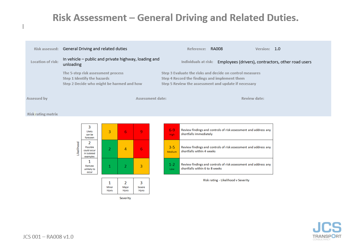 RISK ASSESSMENT - GENERAL DRIVING AND RELATED DUTIES