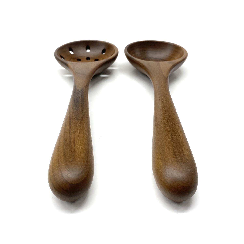 Walnut Serving Spoon and Colander Spoon Set