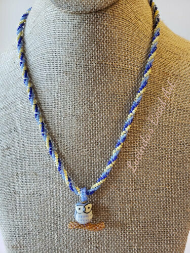 Hoo Hoo Hoo are you? Necklace Dark blue, light blue, yellow, brown with blue owl