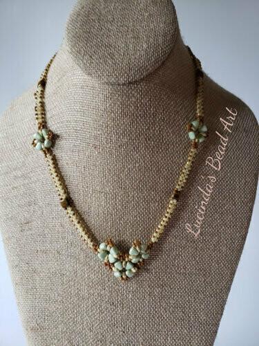Little Green Flowers Necklace - Green, travertine, yellow cream, light green