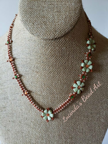 Heart to Heart Necklace Green, Orange, Peach and Terracotta