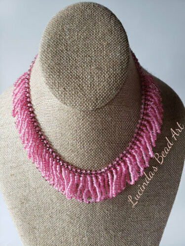 Pretty Pink Woven Seed bead Necklace