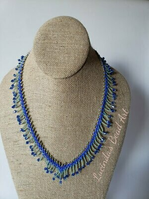 Dainty Blue Fringe Necklace