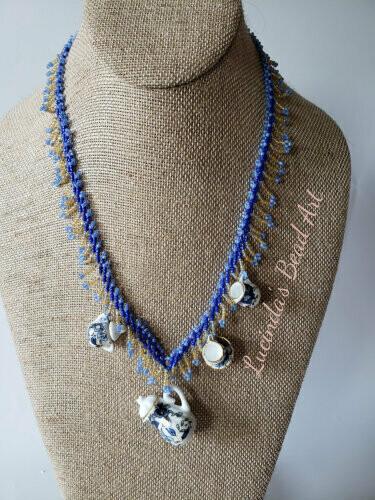 Tea Set Necklace in Blues