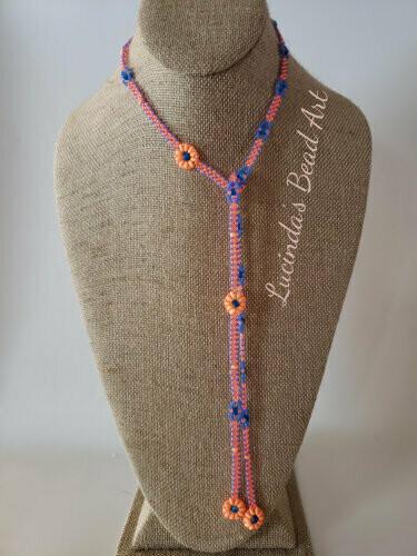 Lariat Necklace in Bright Orange and Blue