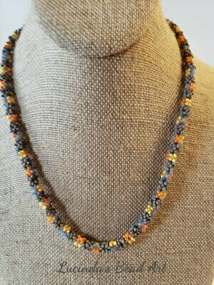 Tubular Seed Bead Flower Necklace in Yellows, Blue, Orange and Gray