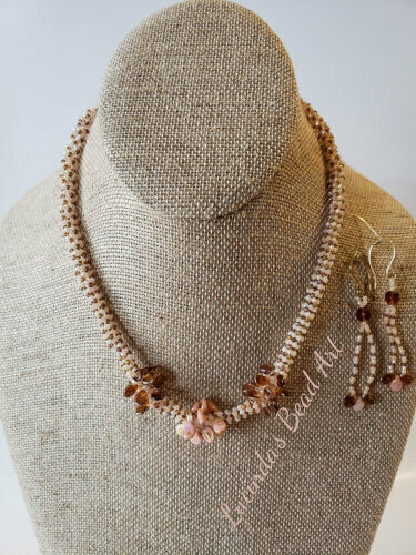 Tubular Seed bead Necklace and Earrings in Peach and Rainbow Frost Brown