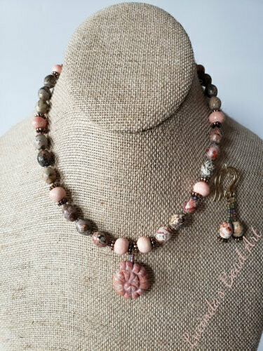 Leopardskin Jasper and Faded Coral Porcelain Beaded necklace