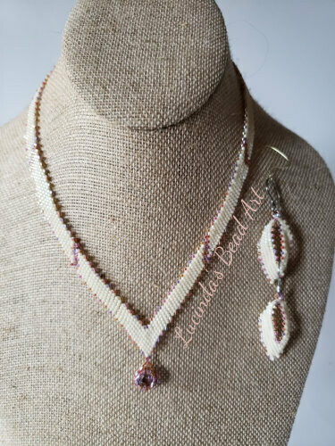 Cream, Purple and Salmon Necklace Set
