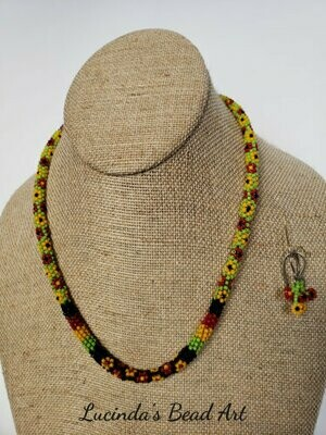 Jamaican Colors Necklace Set With Flowers
