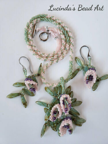 Seafoam and Pink Woven Necklace Set