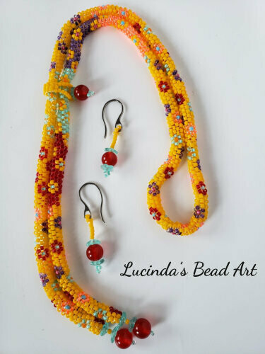 Yellow Multi Flowered Lariat Set