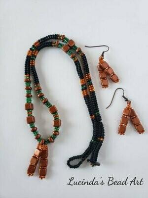 Copper, Black, Green, and Burnt Orange Necklace Set