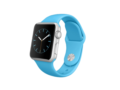 Apple WATCH 1. Generation 38mm silbernes Aluminiumgehäuse blaues Sportarmband