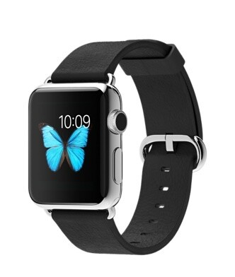 Apple WATCH 1. Generation 42mm silbernes Edelstahlgehäuse schwarzes Lederarmband