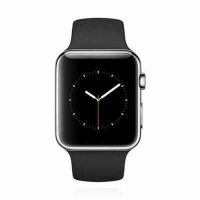 Apple WATCH 1. Generation 42mm silbernes Edelstahlgehäuse schwarzes Sportarmband