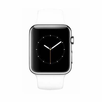 Apple WATCH 1. Generation 38mm silbernes Edelstahlgehäuse weißes Sportarmband