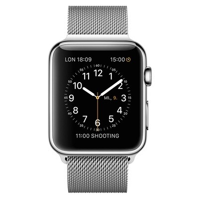 Apple WATCH 1. Generation 42mm silbernes Edelstahlgehäuse mit silbernem Milanaise Armband