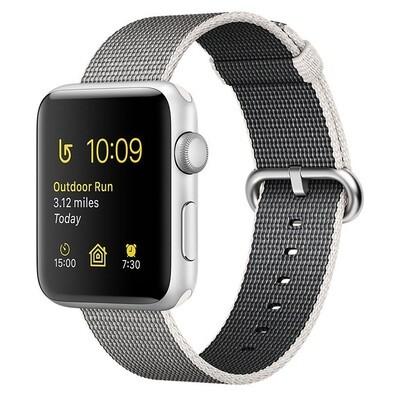 Apple WATCH Series 2 38mm silbernes Aluminiumgehäuse mit perlgrauem Nylonarmband