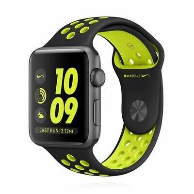 Apple WATCH Series 2 Nike+ 42mm spacegraues Aluminiumgehäuse mit Sportarmband schwarz Volt