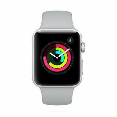 Apple WATCH Series 3 GPS silbernes Aluminiumgehäuse 42mm mit nebelfarbenem Sportarmband