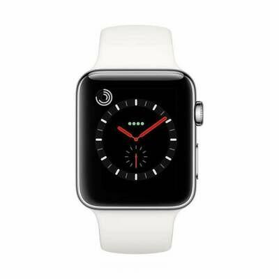 Apple WATCH Series 3 GPS+Cellular 42mm silbernes Edelstahlgehäuse mit weißem Sportarmband