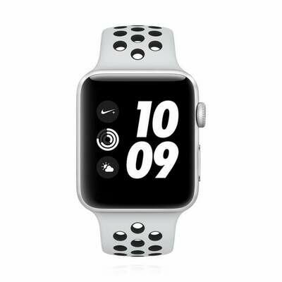 Apple WATCH Series 3 Nike+ GPS 42mm silbernes Aluminiumgehäuse Sportarmband platinumgrau-schwarz