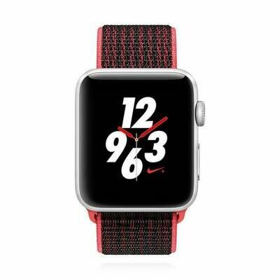 Apple WATCH Series 3 Nike+ GPS + Cellular 42mm Aluminiumgehäuse silber mit Bright Crimson Black Sport Loop