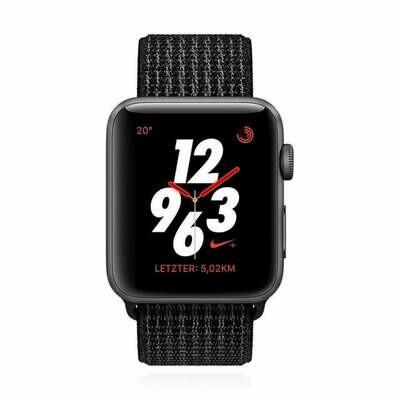 Apple WATCH Series 3 Nike+ GPS + Cellular 42mm spacegraues Aluminiumgehäuse Sport Loop schwarz pure platinum