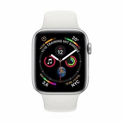 Apple WATCH Series 4 40mm GPS+Cellular silbernes Edelstahlgehäuse mit weißem Sportarmband