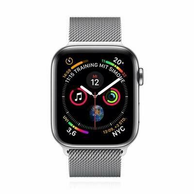 Apple WATCH Series 4 44mm GPS+Cellular silbernes Edelstahlgehäuse mit silbernem Milanaise Armband