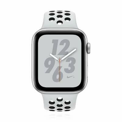 Apple WATCH Series 4 Nike+ GPS 44mm silbernes Aluminiumgehäuse Sportarmband platinumgrau-schwarz