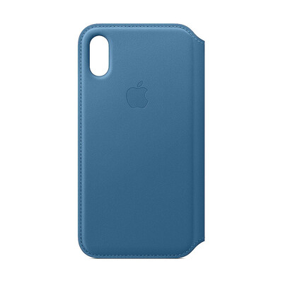 Apple Original iPhone XS Leder Folio Case-Cape Cod Blau