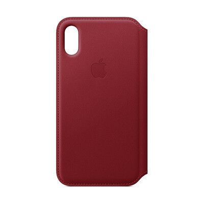 Apple Original iPhone XS Leder Folio Case-(PRODUCT)RED